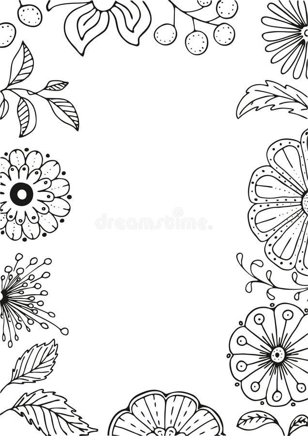 Dé el marco floral exhausto en estilo del garabato con las flores y las hojas, ejemplo del vector stock de ilustración