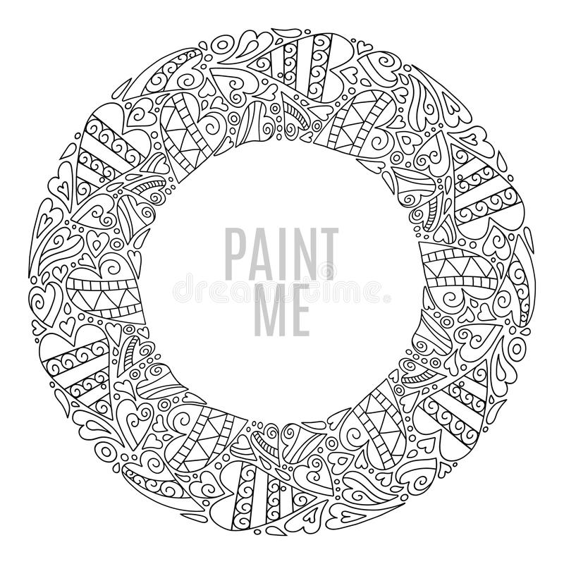 Dé el marco redondo exhausto, elementos decorativos del diseño, corazones ornamento, estilo del círculo del garabato Página del l ilustración del vector