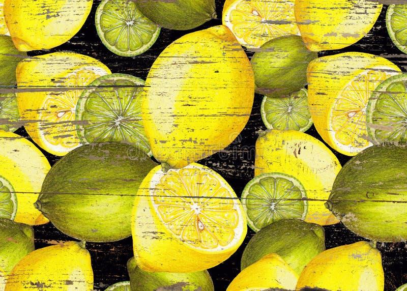 Dé el modelo fresco exhausto del limón en la textura de madera fotos de archivo libres de regalías