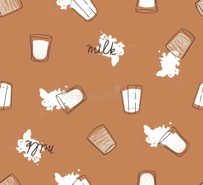 Dé el modelo inconsútil exhausto con gotas y vidrios de la leche Impresión moderna ligera para la tela, el papel del abrigo o el  stock de ilustración