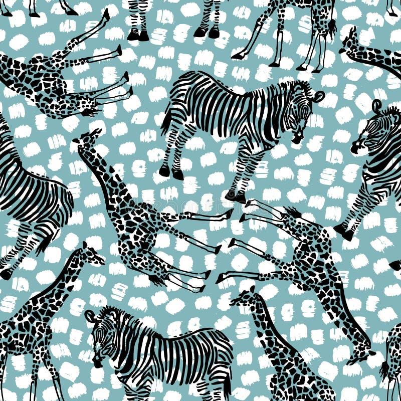 Dé el modelo inconsútil exhausto con la cebra, jirafa en fondo geométrico stock de ilustración