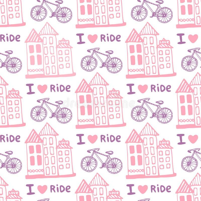 Dé el modelo inconsútil exhausto con las casas lindas y monte en bicicleta en colores rosados Fondo del ejemplo en vector Utiliza stock de ilustración
