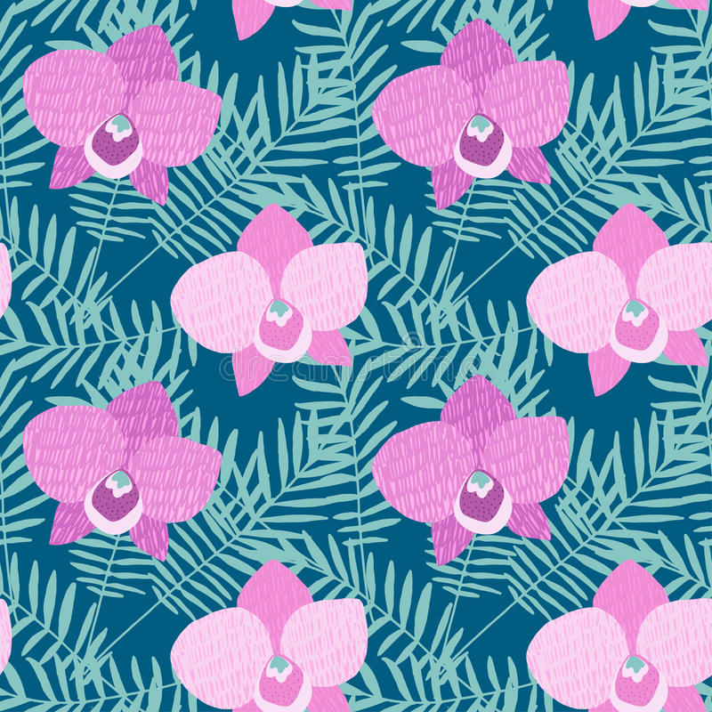 Dé el modelo inconsútil exhausto con las flores y las hojas de palma de la orquídea del rosa del Phalaenopsis Diseño tropical de  ilustración del vector