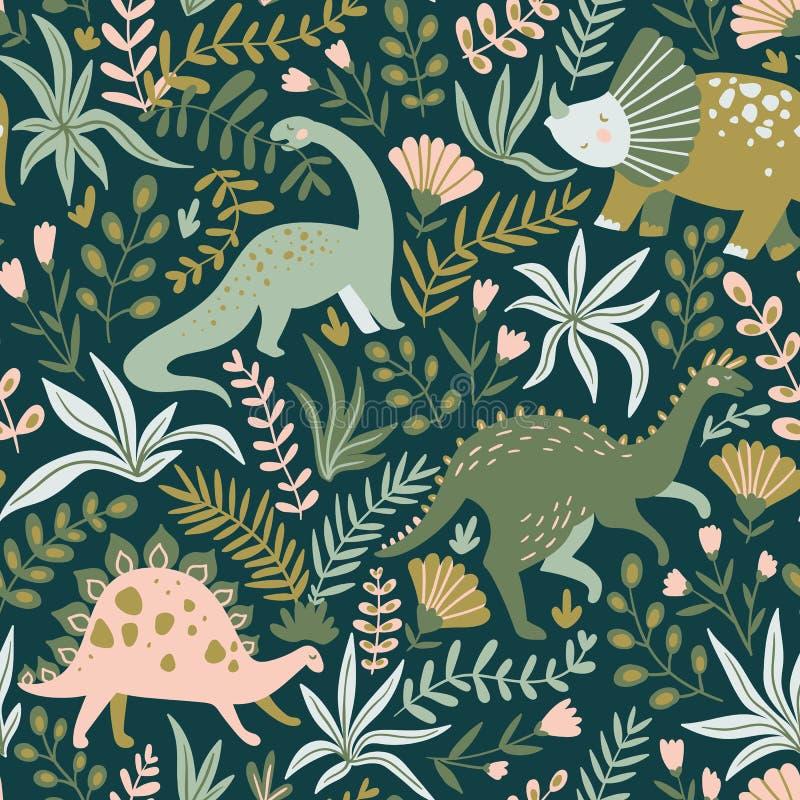 Dé el modelo inconsútil exhausto con los dinosaurios y las hojas y las flores tropicales Ilustración del vector ilustración del vector
