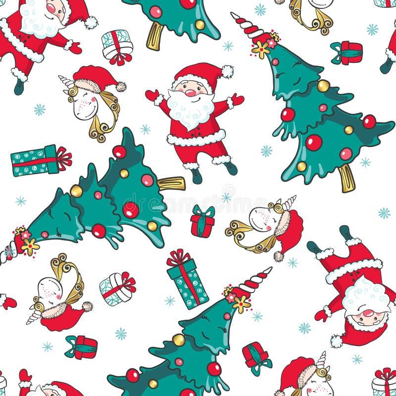 Dé el modelo inconsútil exhausto con unicornio, Santa Claus y el árbol de navidad ilustración del vector