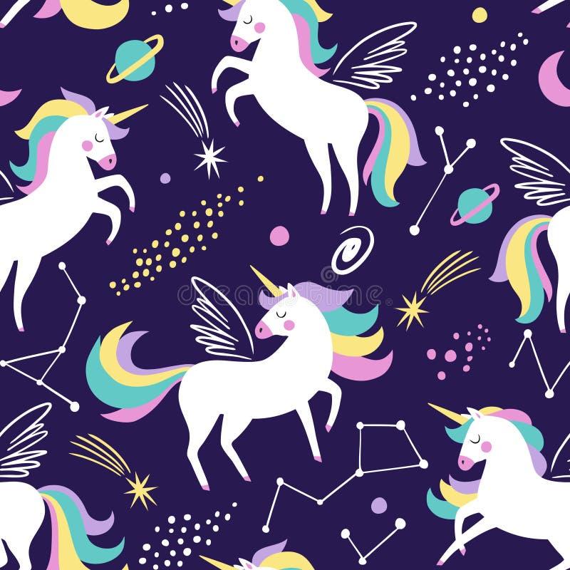 Dé el modelo inconsútil exhausto del vector con unicornios lindos, las estrellas y el planeta stock de ilustración