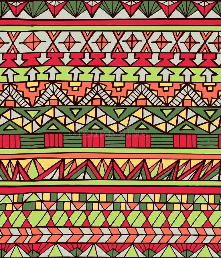 Dé el modelo inconsútil geométrico azteca exhausto en colores rojos libre illustration
