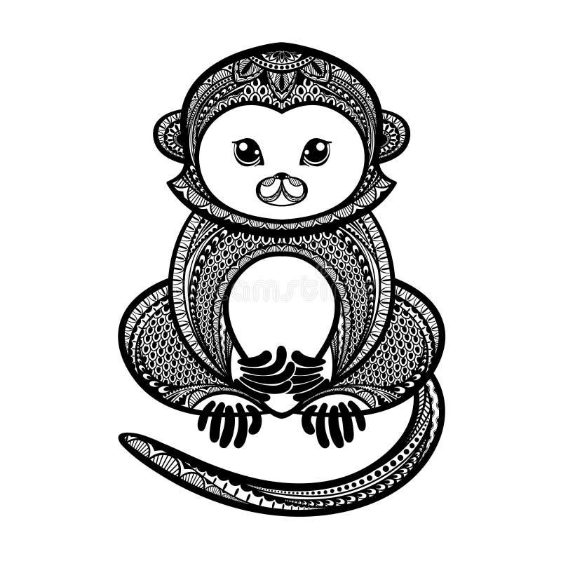 Dé el mono exhausto en el estilo del zentangle, símbolo del Año Nuevo 2016 ilustración del vector