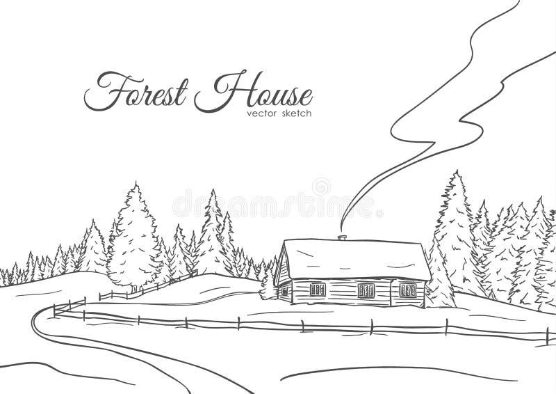 Dé el paisaje exhausto con el camino a la línea diseño del bosquejo de la casa y del bosque del pino stock de ilustración