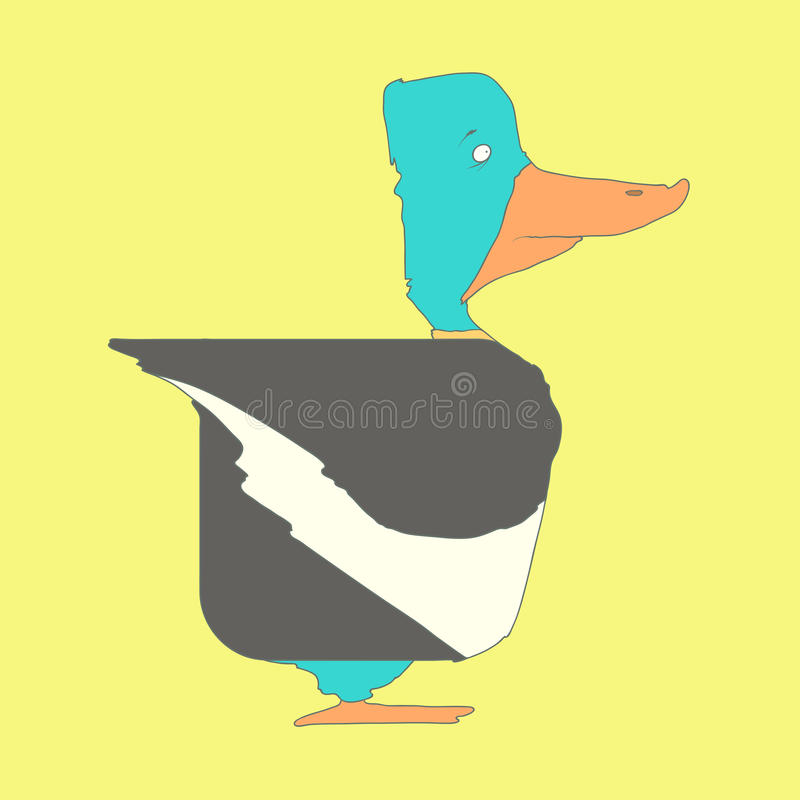 Dé el pato cuadrado plano exhausto del icono aislado encendido libre illustration