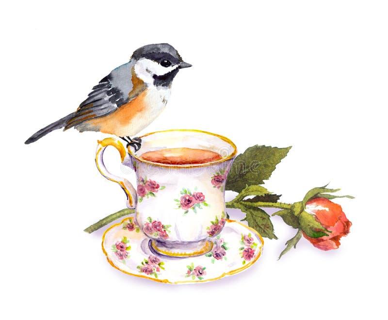 Dé el pequeño pájaro exhausto de la acuarela en la taza de té y la flor color de rosa libre illustration