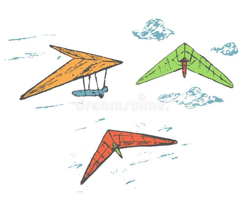 Dé el planeador de caída exhausto del bosquejo, colección del deltaplane ilustración del vector