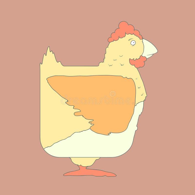 Dé el pollo cuadrado plano exhausto del icono aislado encendido stock de ilustración