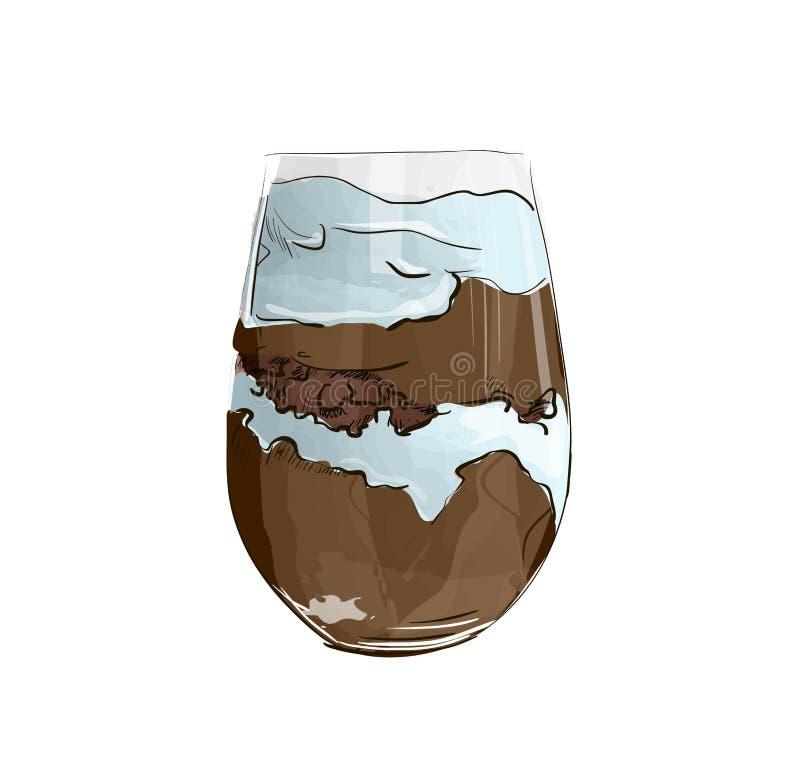 Dé el postre acodado exhausto con el chocolate, la torta de la galleta y el queso cremoso stock de ilustración