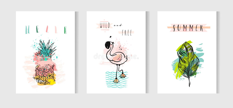 Dé el sistema de tarjetas de fichar exhausto del verano del extracto del vector con el flamenco rosado, las hojas de palma tropic libre illustration