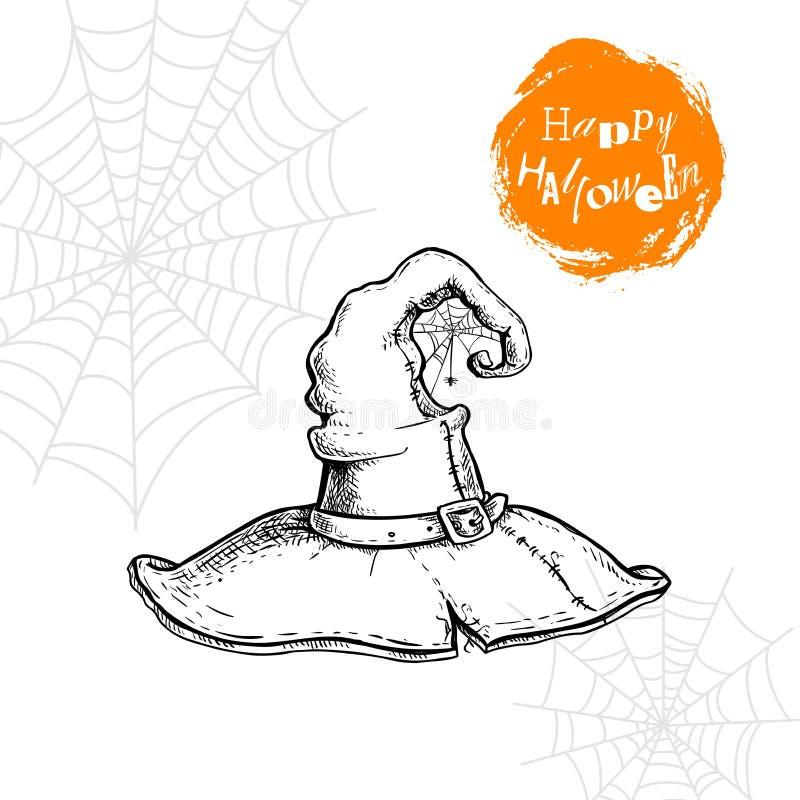 Dé el sombrero exhausto de la bruja con el spiderweb y la araña Cartel del partido de Halloween y elemento del diseño de la invit ilustración del vector