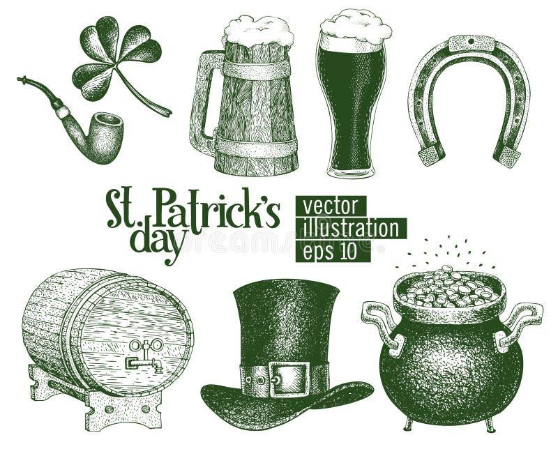 Dé el sombrero exhausto del duende del vector, trébol, taza de cerveza, barril, bosquejo de oro del pote de la moneda fijado para libre illustration