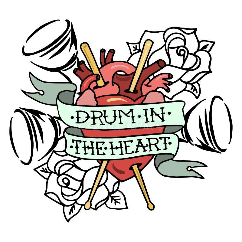 Dé el tambor exhausto del ` del ejemplo del vector en el ` del corazón libre illustration