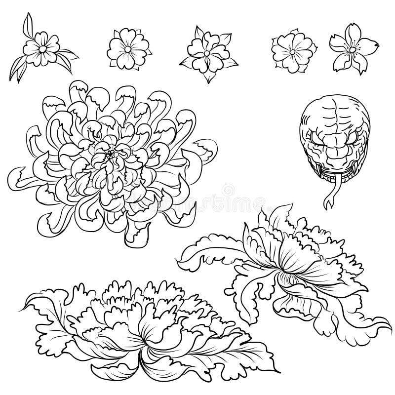 Dé el tatuaje exhausto de la flor, estilo japonés del libro de colorear ilustración del vector