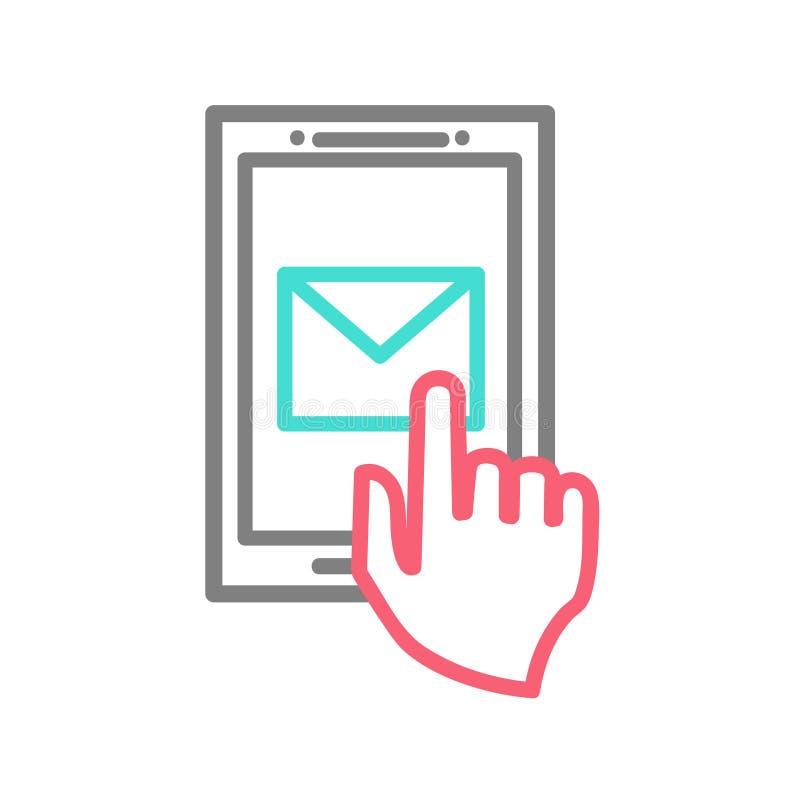 Dé el teléfono elegante conmovedor con símbolo del correo electrónico en stock de ilustración