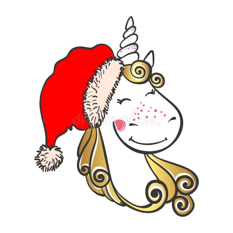 Dé el unicornio mágico lindo exhausto en el sombrero de Papá Noel ilustración del vector