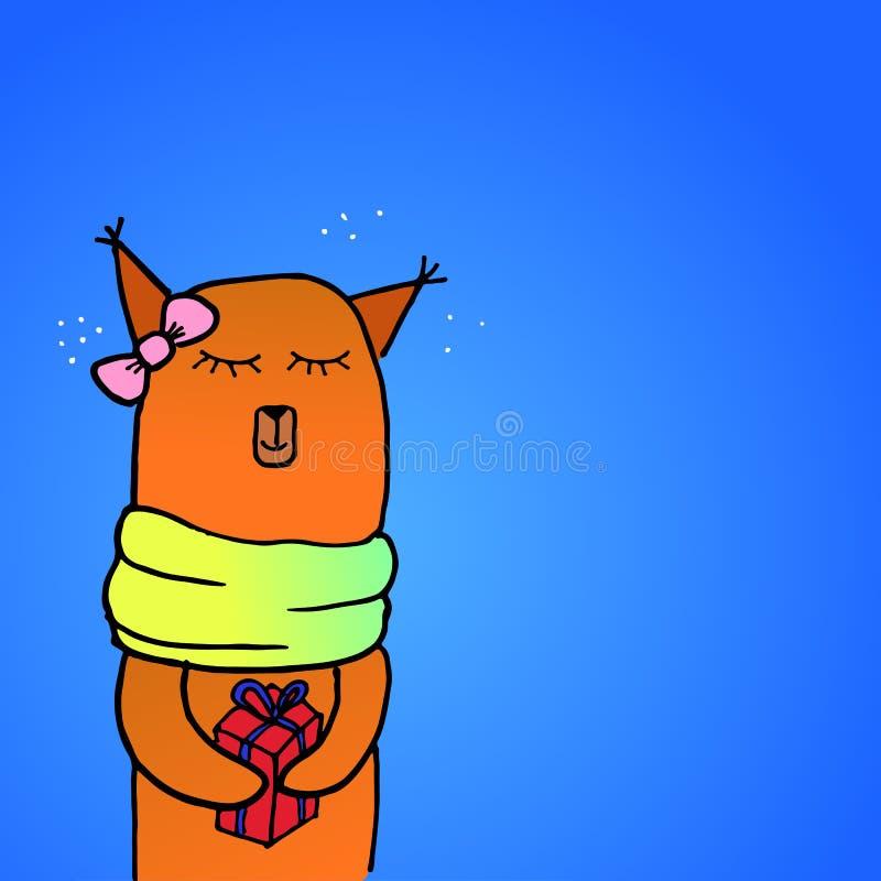 Dé el zorro sonriente lindo exhausto de la historieta en la bufanda que sostiene la caja de regalo de la Feliz Navidad Dibujo de  ilustración del vector