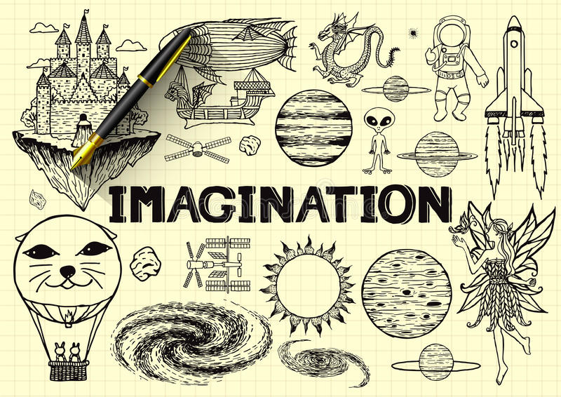 Dé exhausto sobre la imaginación en el papel amarillo con la pluma 3d libre illustration
