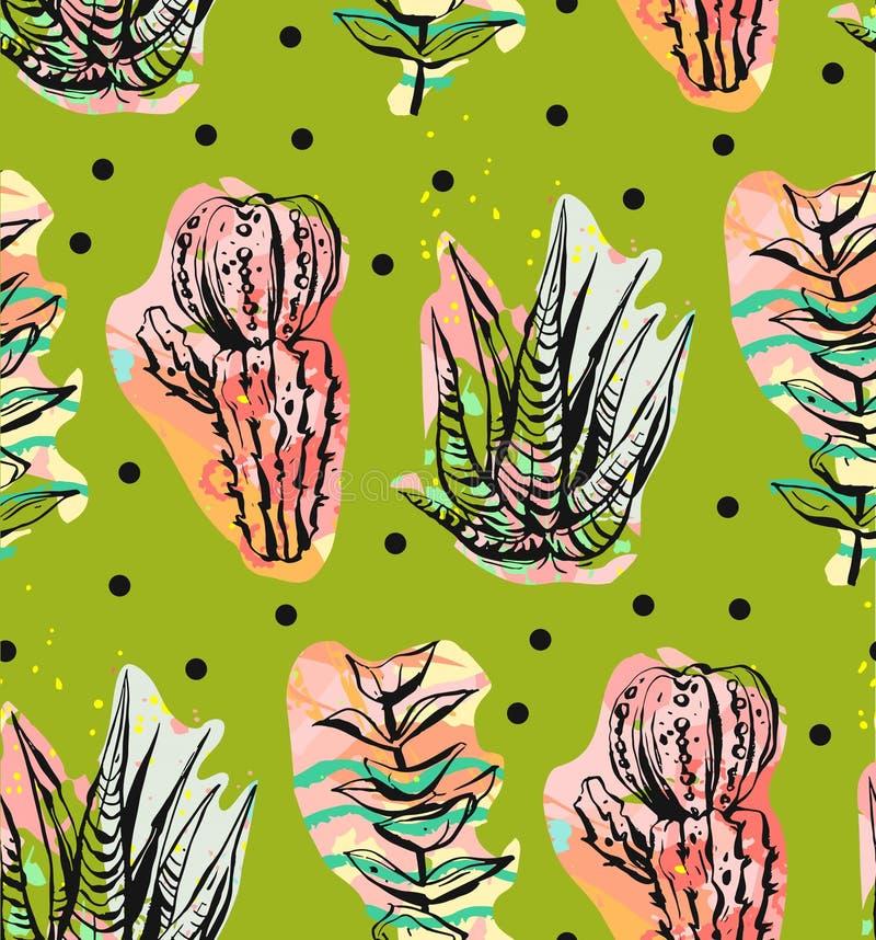 Dé a extracto exhausto del vector el modelo inconsútil creativo gráfico del succulent, del cactus y de las plantas en fondo de lo ilustración del vector