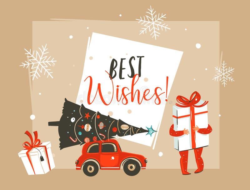 Dé a extracto exhausto del vector la Feliz Navidad y el nuevo jefe feliz de la tarjeta de felicitación del ejemplo de la historie ilustración del vector