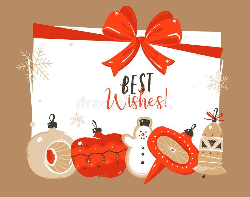 Dé a extracto exhausto del vector la Feliz Navidad y nuevos los ejemplos felices de la historieta del año que saludan la plantill stock de ilustración