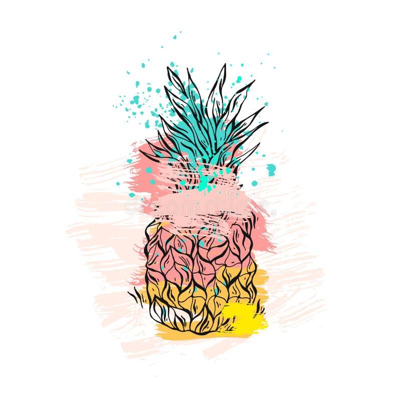 Dé a extracto exhausto del vector la piña tropical en colores en colores pastel y texturas a pulso aislada en el fondo blanco Ver ilustración del vector