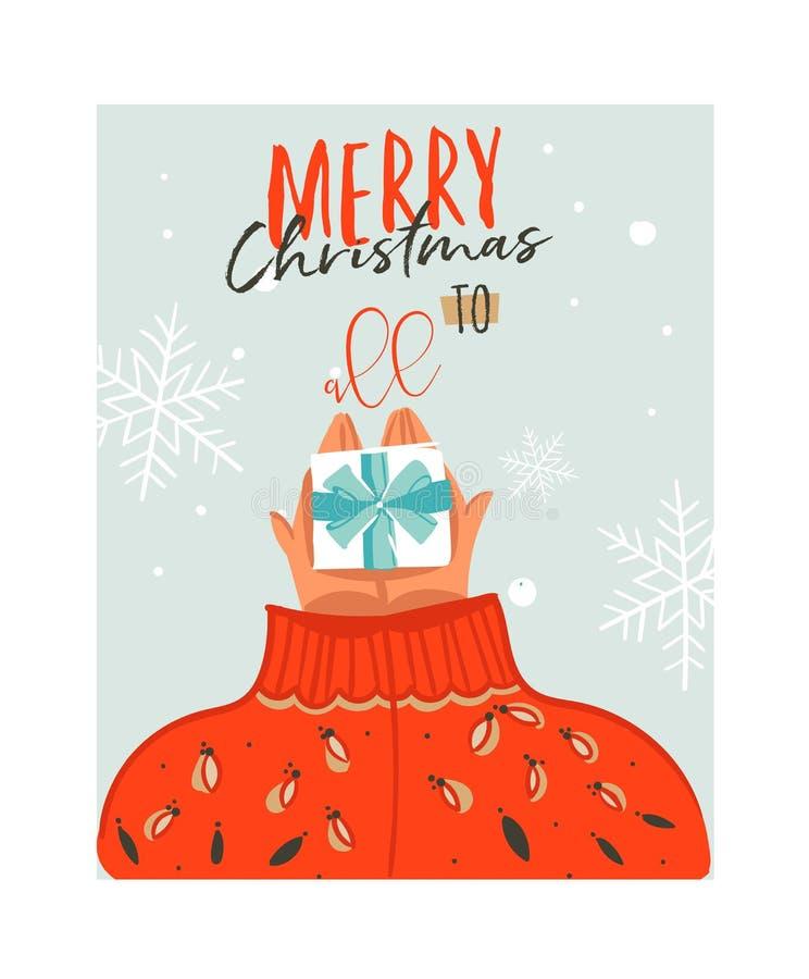Dé a extracto exhausto del vector la tarjeta del ejemplo de la historieta del tiempo de la Feliz Navidad con la gente en el suéte stock de ilustración