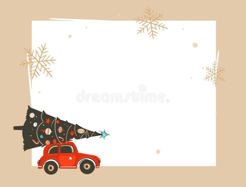 Dé a extracto exhausto del vector los ejemplos de la historieta del tiempo de la venta de la Feliz Navidad y de la Feliz Año Nuev ilustración del vector