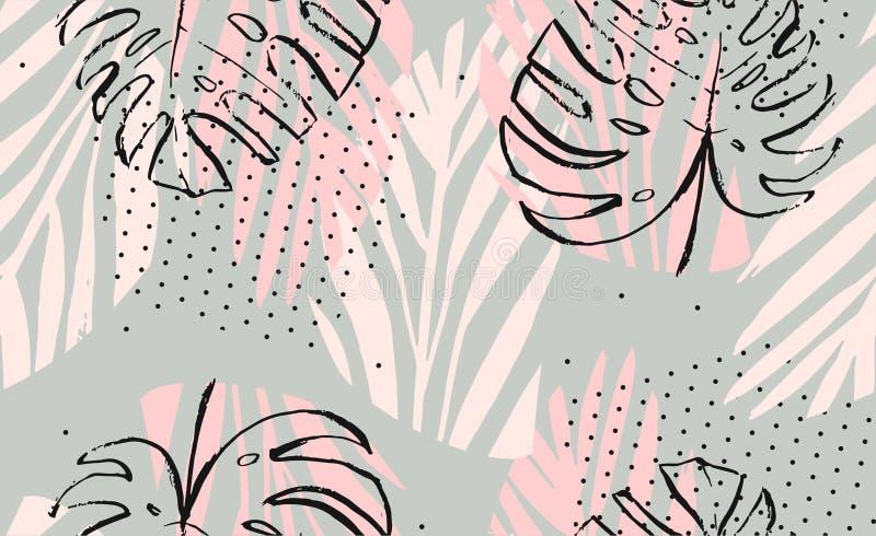 Dé a extracto exhausto del vector a pulso las hojas de palma tropicales texturizadas artísticas modelo inconsútil en colores en c ilustración del vector