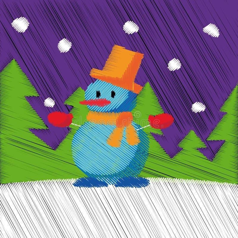 Dé a Feliz Navidad exhausta la Feliz Año Nuevo fondo de la tarjeta de felicitación de 2018 inviernos con la historieta linda Esti libre illustration
