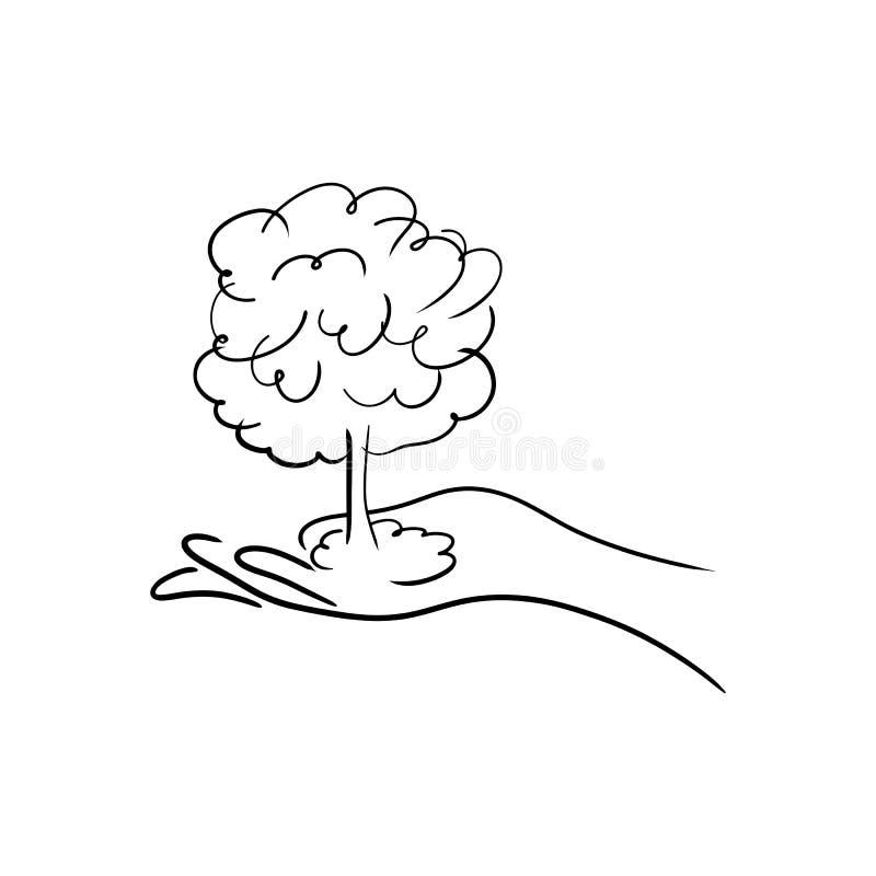 Dé a holdin un bosquejo Han del ejemplo del vector del árbol o de la bomba atómica stock de ilustración