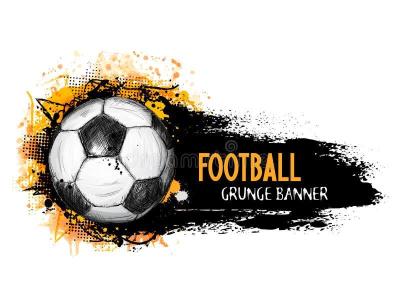 Dé la bandera exhausta del grunge del vector con el balón de fútbol ilustración del vector