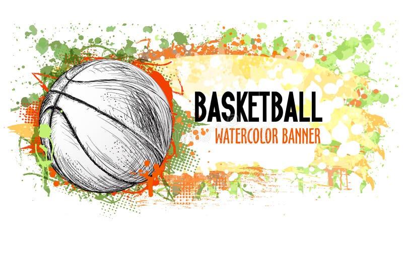 Dé la bandera exhausta del grunge del vector con la bola del baloncesto y salpica libre illustration