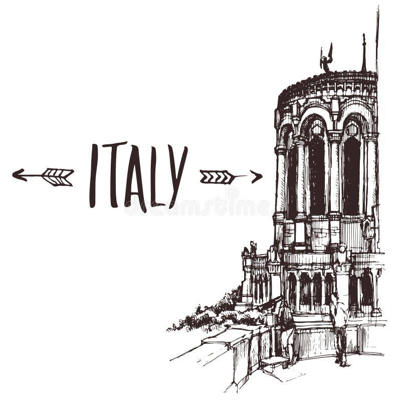 Dé la basílica exhausta, basílica de menor importancia en el bosquejo urbano de Lyon Ejemplo de libro a mano, postal turística o  fotos de archivo libres de regalías