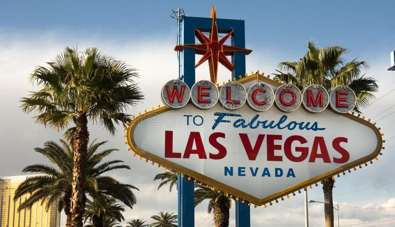 Dé la bienvenida a Las Vegas Nevada Skyline City Limit Street a la muestra foto de archivo libre de regalías