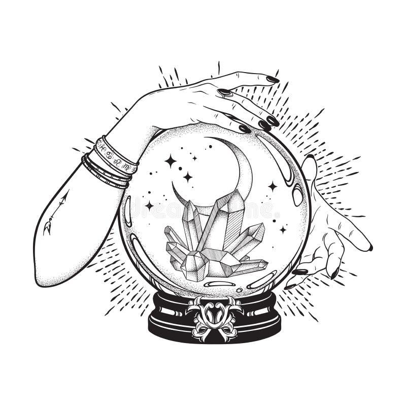 Dé la bola de cristal mágica exhausta con las gemas y la luna creciente en manos de la línea arte del adivino y del trabajo del p ilustración del vector