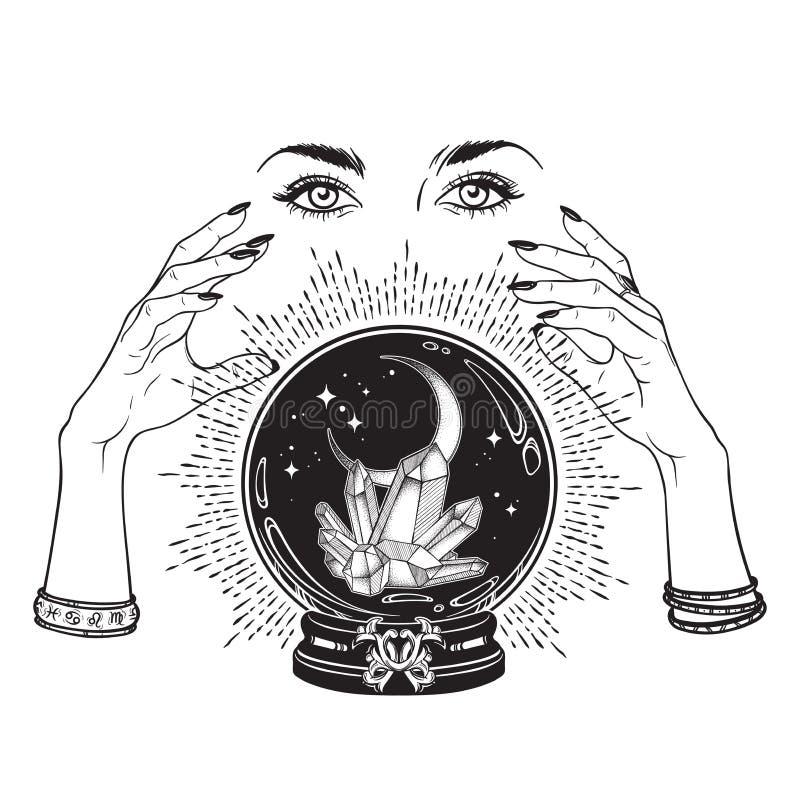 Dé la bola de cristal mágica exhausta con las gemas y la luna creciente en manos de la línea arte del adivino y del trabajo del p stock de ilustración