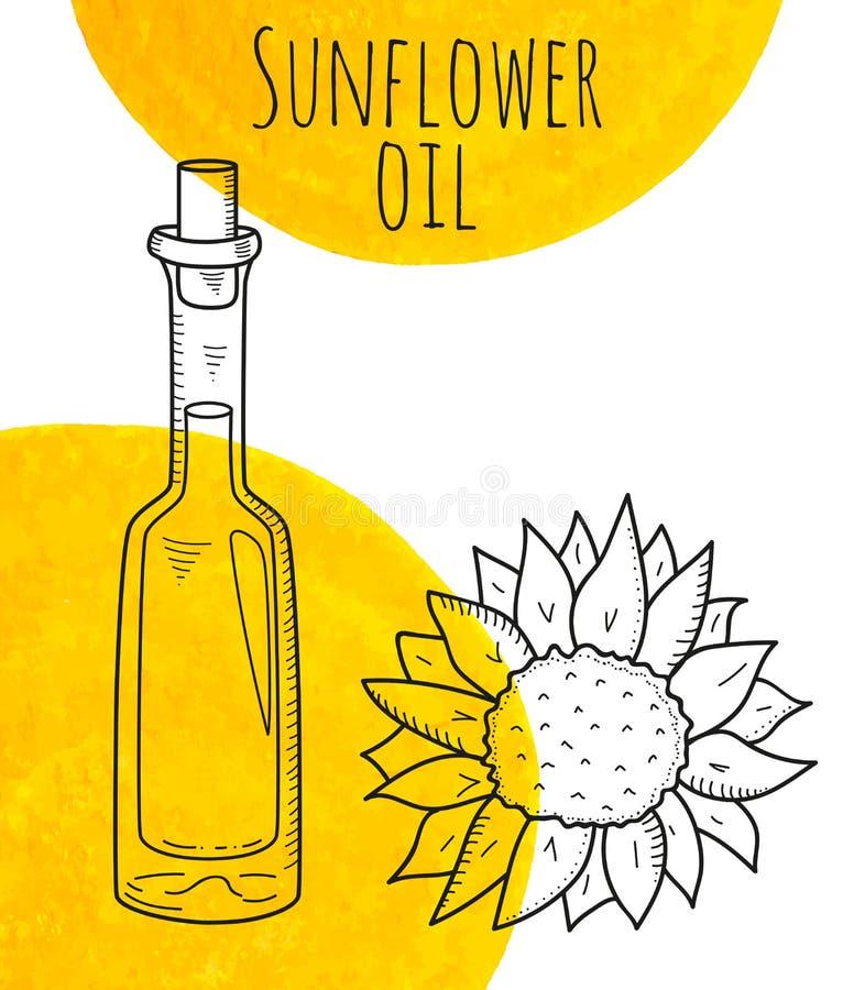 Dé la botella exhausta del girasol con los puntos amarillos de la acuarela stock de ilustración