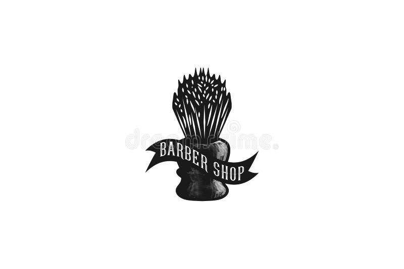 dé la brocha de afeitar exhausta, inspiración del logotipo de la peluquería de caballeros del vintage aislada en el fondo blanco libre illustration