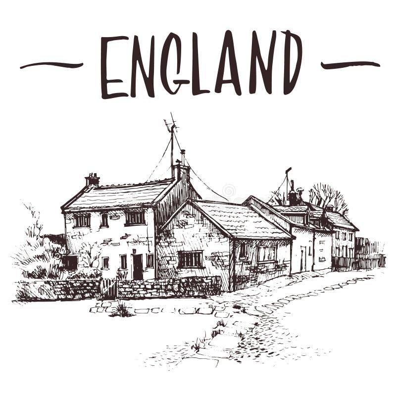 Dé la cabaña inglesa exhausta, bosquejo urbano de la casa urbana Ejemplo de libro a mano, postal turística o plantilla del cartel fotografía de archivo