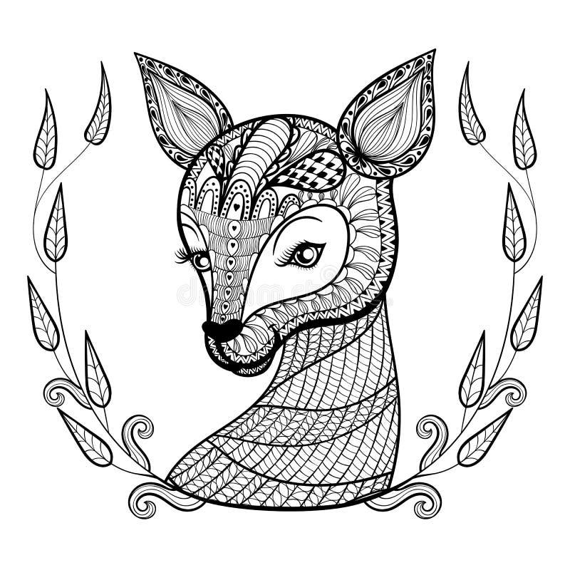 Dé la cara del ciervo lindo modelado ornamental étnico exhausto en flora ilustración del vector