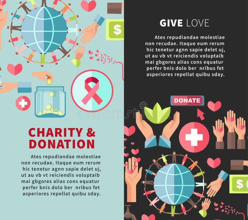 Dé la caridad y la donación del amor los carteles verticales promocionales stock de ilustración