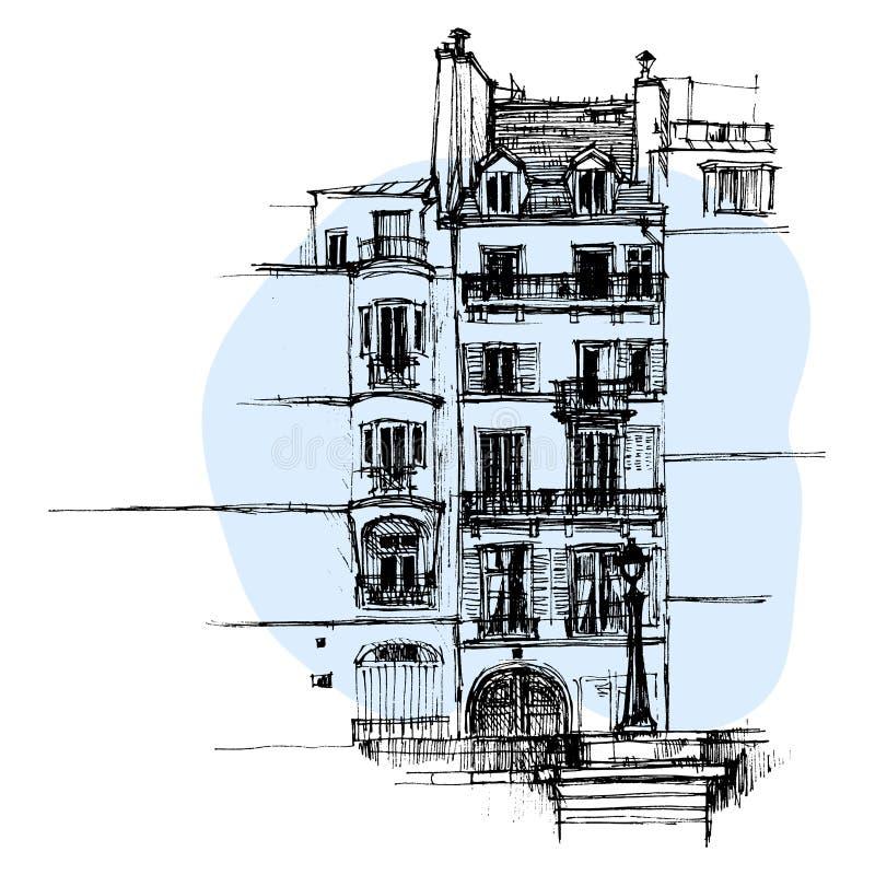 Dé la casa exhausta de París, bosquejo urbano de la casa urbana fotos de archivo libres de regalías