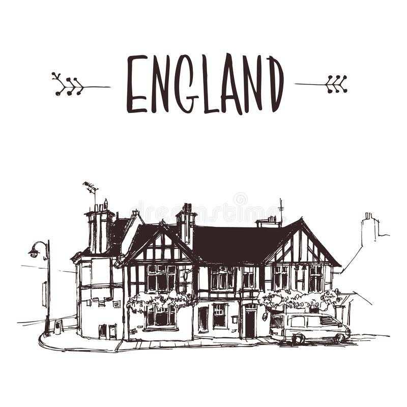 Dé la casa inglesa exhausta, bosquejo urbano de la casa urbana foto de archivo libre de regalías