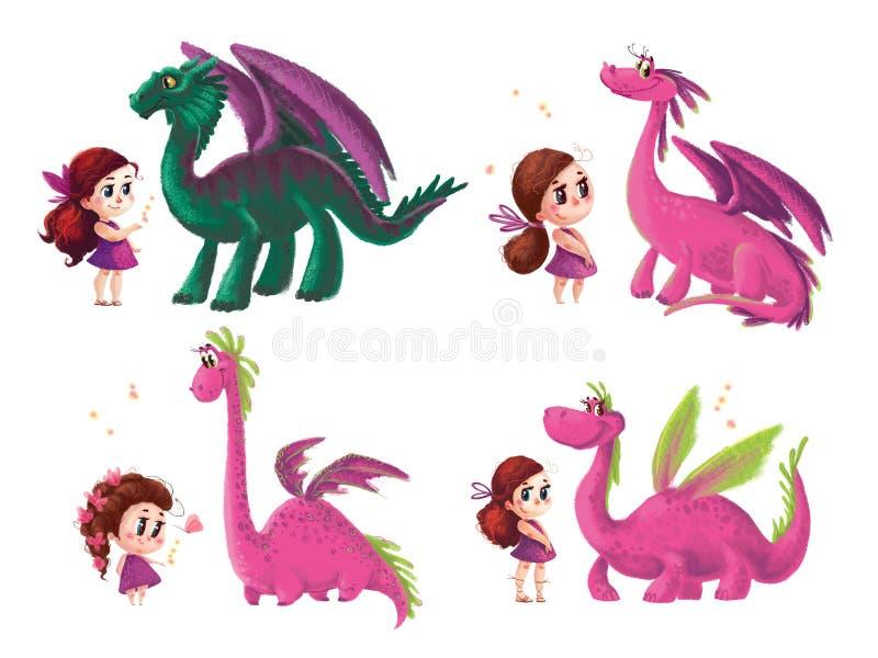 Dé la colección artística exhausta de niña linda y de dinosaurio amistoso libre illustration